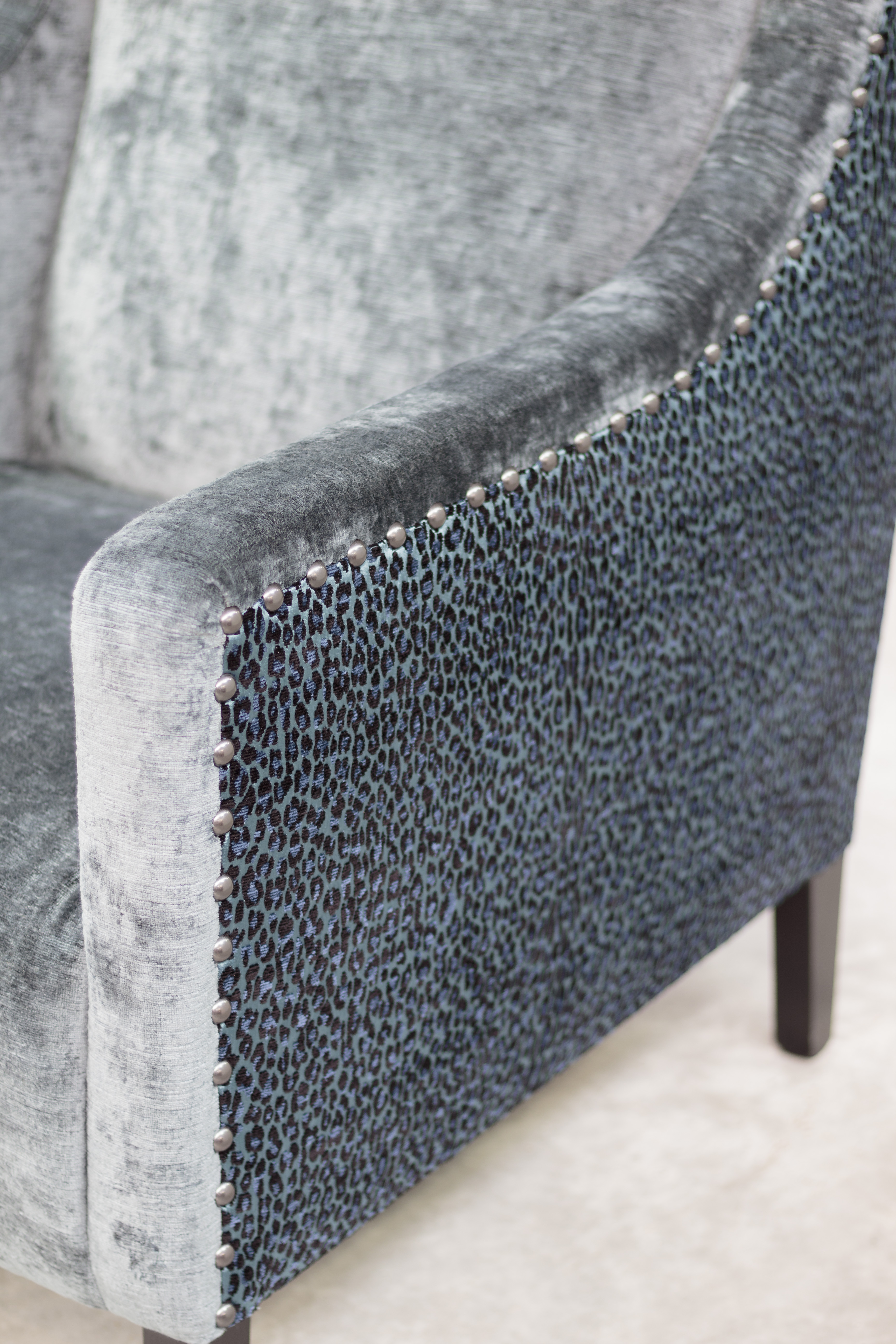 Montreux High Back Kidman chair in Mokum 'Leopardo' and 'Bespoke' velvet